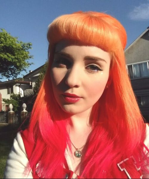 cabello ombre naranja y rojo