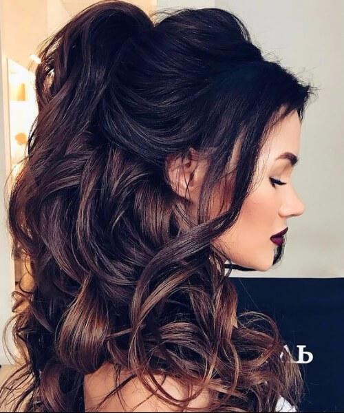 mitad hasta la mitad hacia abajo peinados de boda para el pelo largo