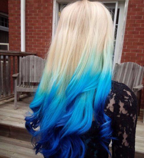 cabello ombre rubio y azul