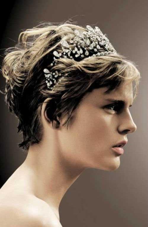 Diadema de pelo corto de la boda