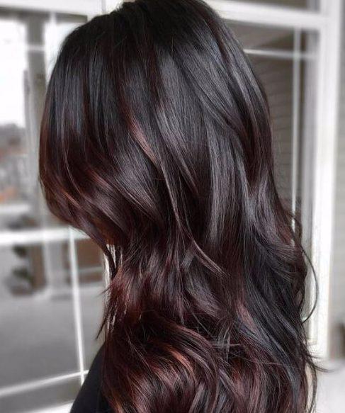 cabello castaño chocolate ciruela ombre