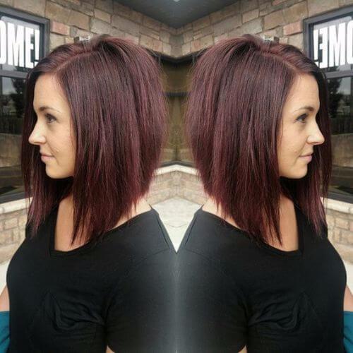 corte de pelo rojo marrón sombra bob
