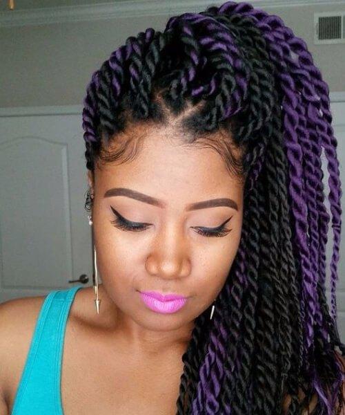 giro senegalés negro y púrpura