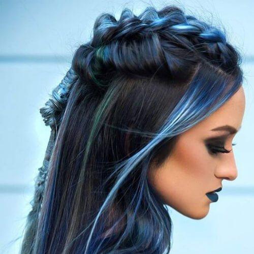 peinados trenza azul para el pelo largo