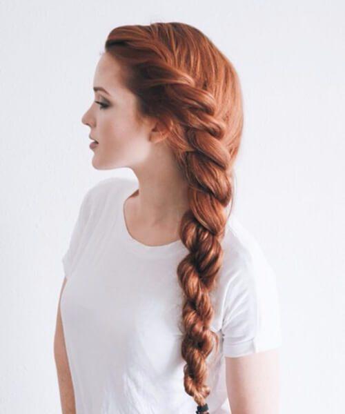 trenza roja trenzada peinados largos