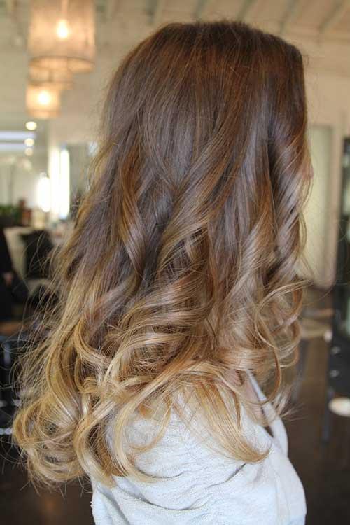 Ombre color ondulado peinados