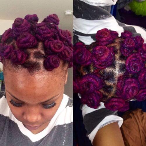 nudos bantú teñidos de color púrpura