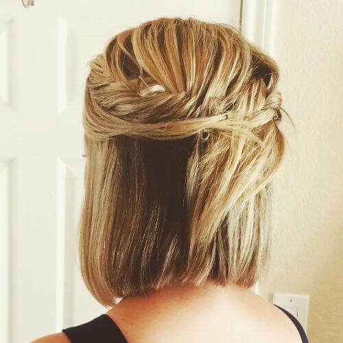 halfdo trenzado para cabello corto