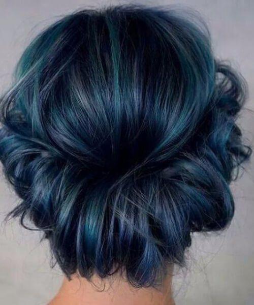 corona desordenada medianoche color verde azulado