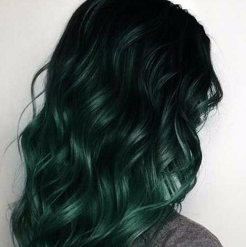 color de cabello balayage verde bosque