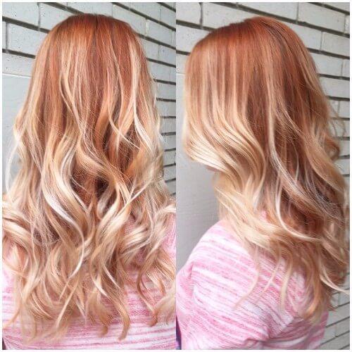 cabello rubio oxidado balayage rojo