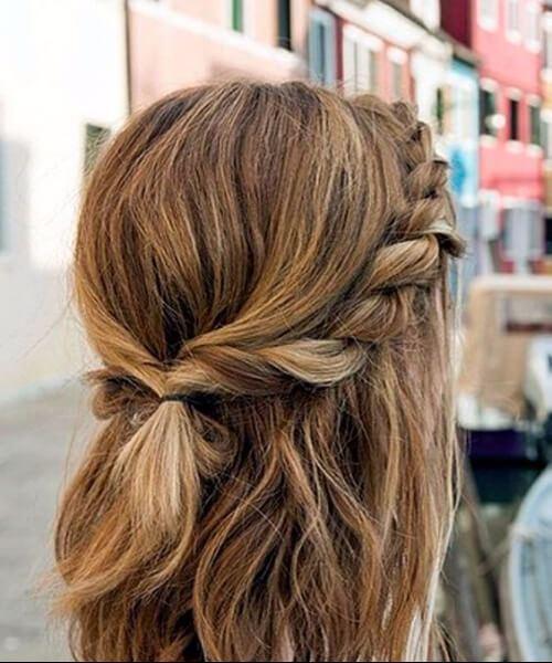 trenza romántica peinados de longitud media
