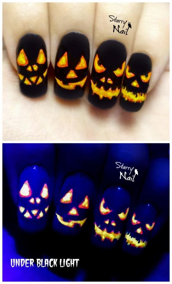 Calabazas de Halloween Easy Glow In The Dark Nail Art.