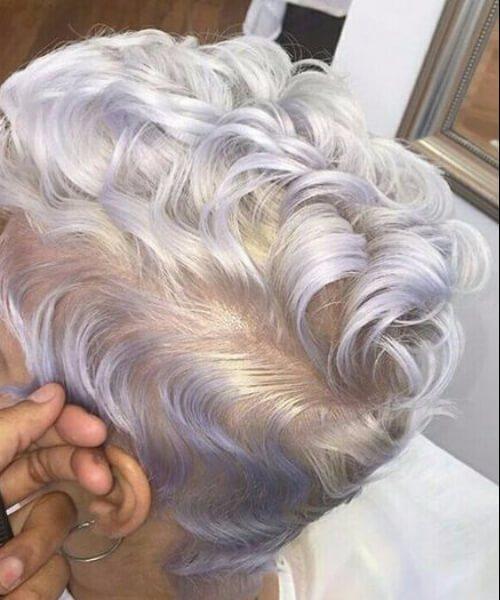 Cabello gris y Lavender corte largo duendecillo