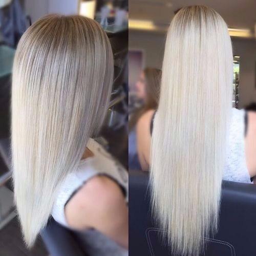 liso cabello rubio ceniza larga