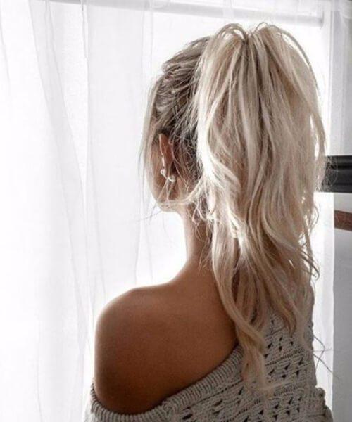 corte de pelo de la peluca cola de caballo de platino