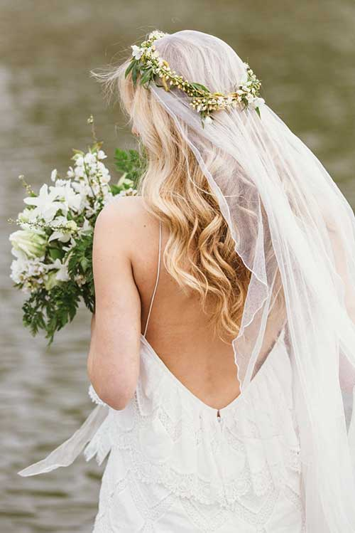 Flor de la corona de la boda pelo con velo Imágenes