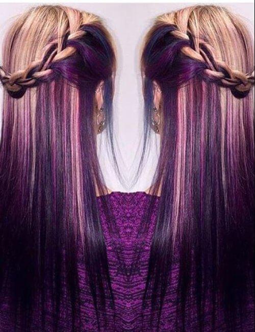 rubia y uva aplasta el pelo púrpura