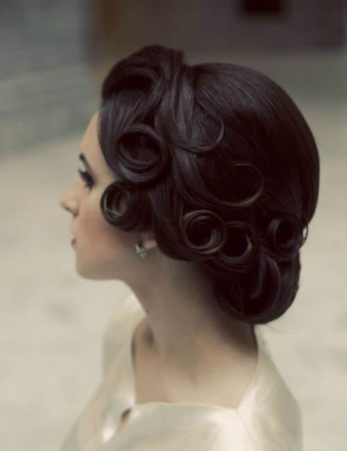 vintage real updos para cabello largo