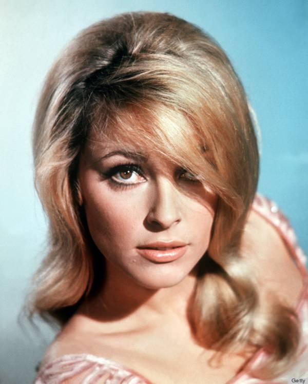 En la cabeza de Sharon Tate (1943-1969), actriz estadounidense, en un retrato de estudio, sobre un fondo azul claro, alrededor de 1965. (Foto de Silver Screen Collection / Getty Images)