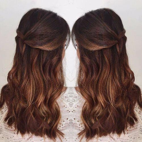 ombre de caramelo oscuro en el pelo largo