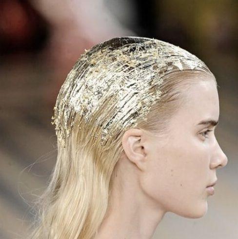 peinados rubios de hoja de oro