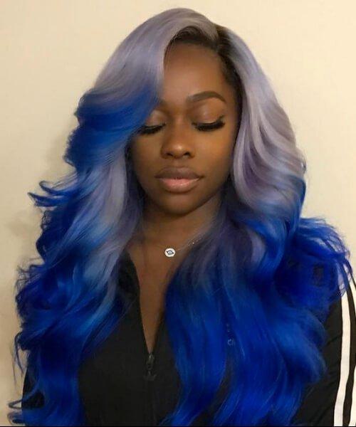 peinados de niña de azul negro peacock