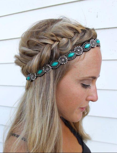 accesorios de banda para la cabeza de adorno verde azulado para cabello largo