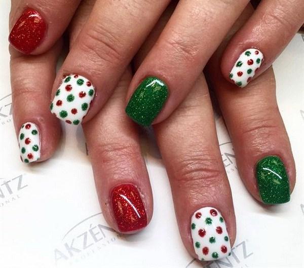 Verde, rojo blanco punteado Nail Art vacaciones.