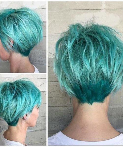 peinados color turquesa para pelo corto