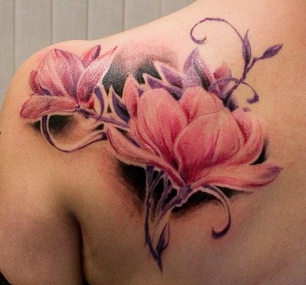 Acuarela Magnolia Flower Tattoo.