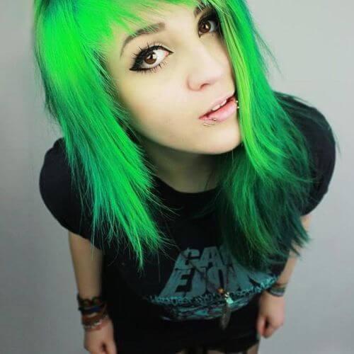 pelo verde peinados emo largos para niñas