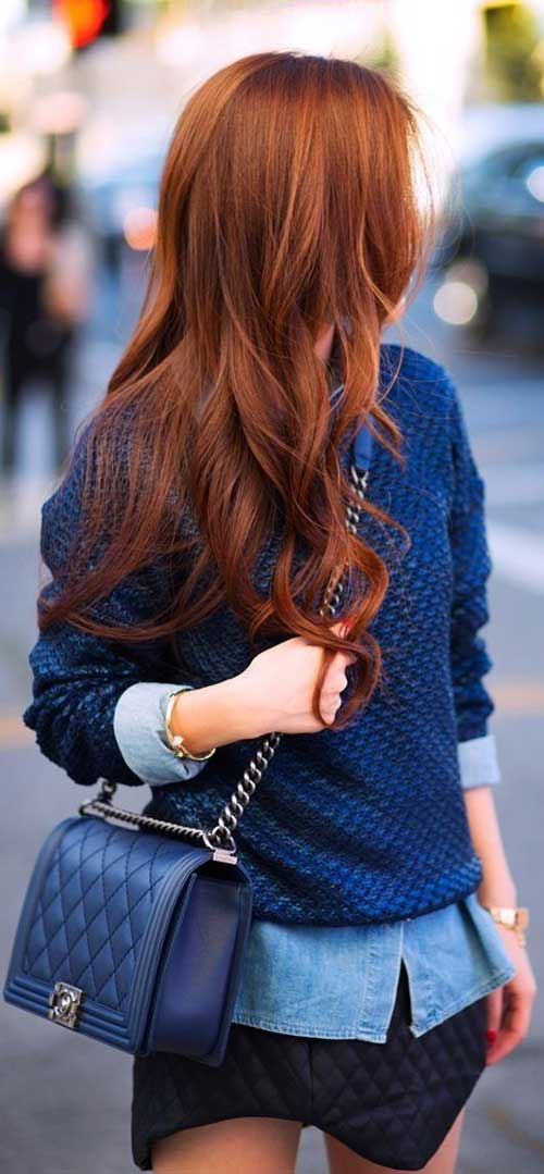 Peinados largos rojos en capas