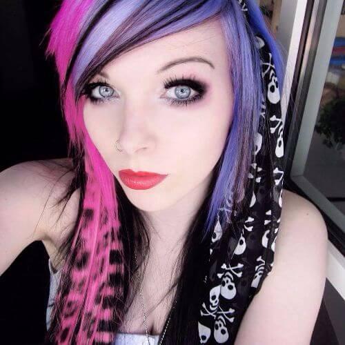 peinados emo pelo púrpura coontail para niñas
