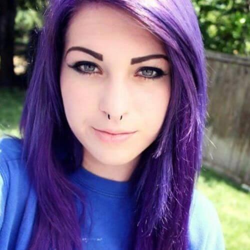 Pastel morado.  Cool Emo Hairstyle para niñas