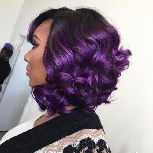 peinados de bob morado imperial para mujeres negras