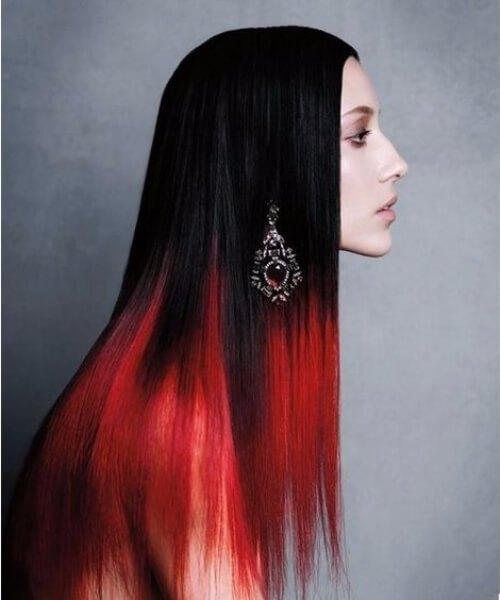 pelo ombre negro y rojo