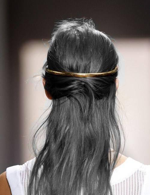 updos de banda de metal gris dorado para cabello largo