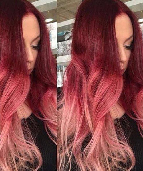 rosa ombre pelo rojo