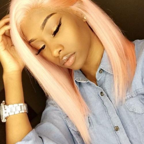 peinados largos bob de oro rosa para mujeres negras