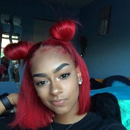bollos rojos del espacio peinados frescos para niñas