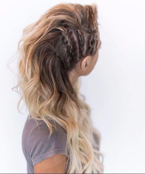 medio trenzado peinados largos