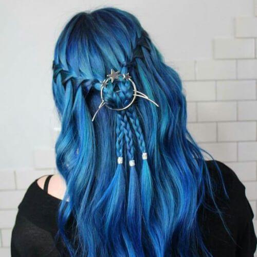 peinados de cobalto trenza para cabello largo