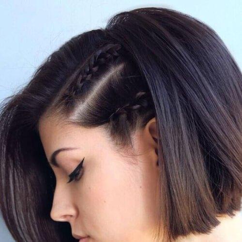 peinados de baile de micro trenzas para cabello corto