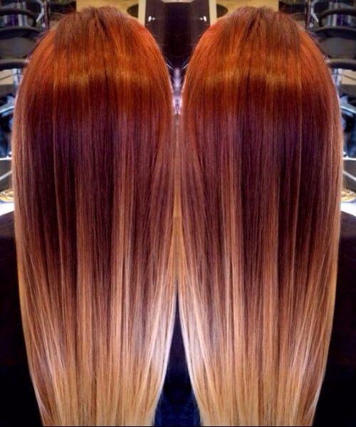 Rojo que se derrite a rubio ombré balayage rojo ombre pelo