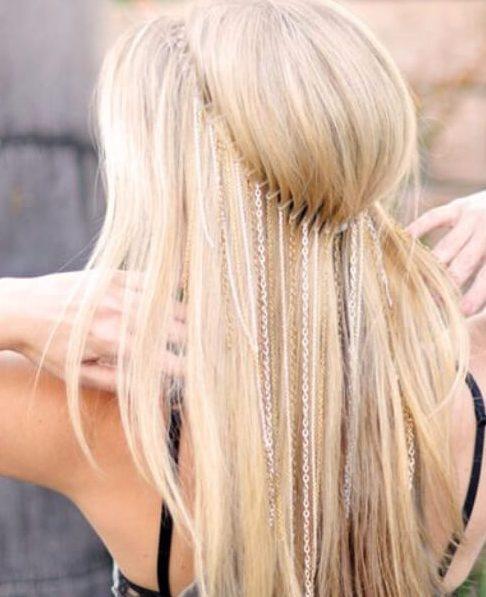 peinados de boda de cadena larga para cabello largo