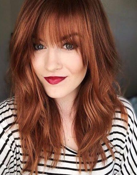 Colores rojos de cabello de otoño