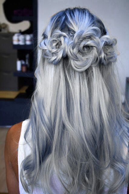 nudos de rosas de pelo gris