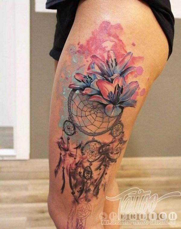 Tatuajes de acuarela atrapasueños.