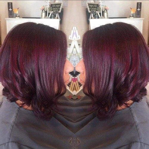 ciruela cabello castaño rojo bob